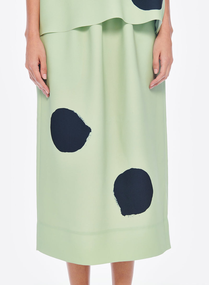 Polka Dot Pull On Skirt Pistachio / Black Multi-6