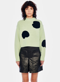 Polka Dot Intarsia Sweater Cropped Pullover Polka Dot Intarsia Sweater Cropped Pullover
