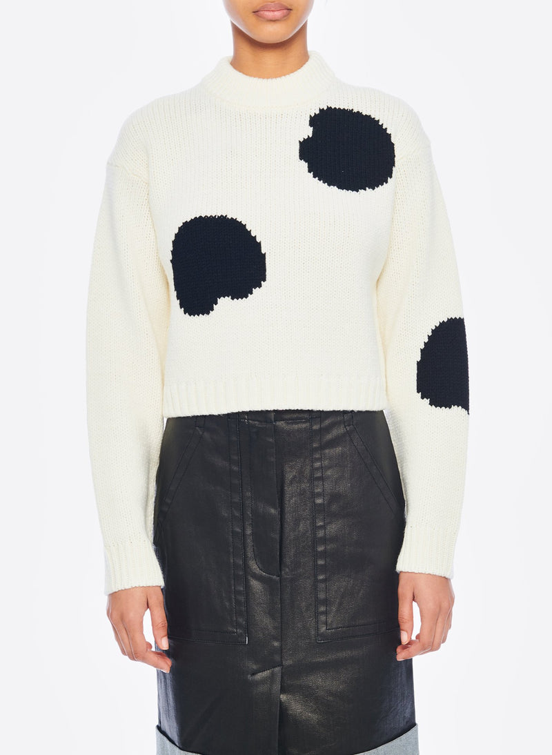 Polka Dot Intarsia Sweater Cropped Pullover Ivory/Black Multi-1
