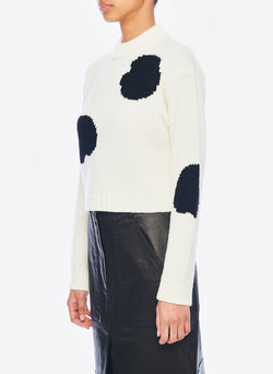 Polka Dot Intarsia Sweater Cropped Pullover Ivory/Black Multi-2