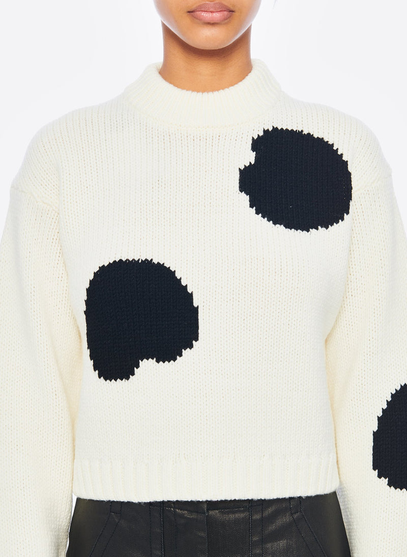 Polka Dot Intarsia Sweater Cropped Pullover Ivory/Black Multi-4