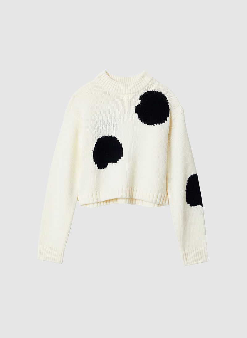 Polka Dot Intarsia Sweater Cropped Pullover Ivory/Black Multi-7