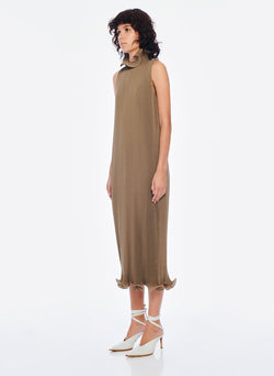 Pleated Sleeveless Dress Moss-9
