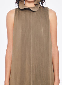 Pleated Sleeveless Dress Moss-11