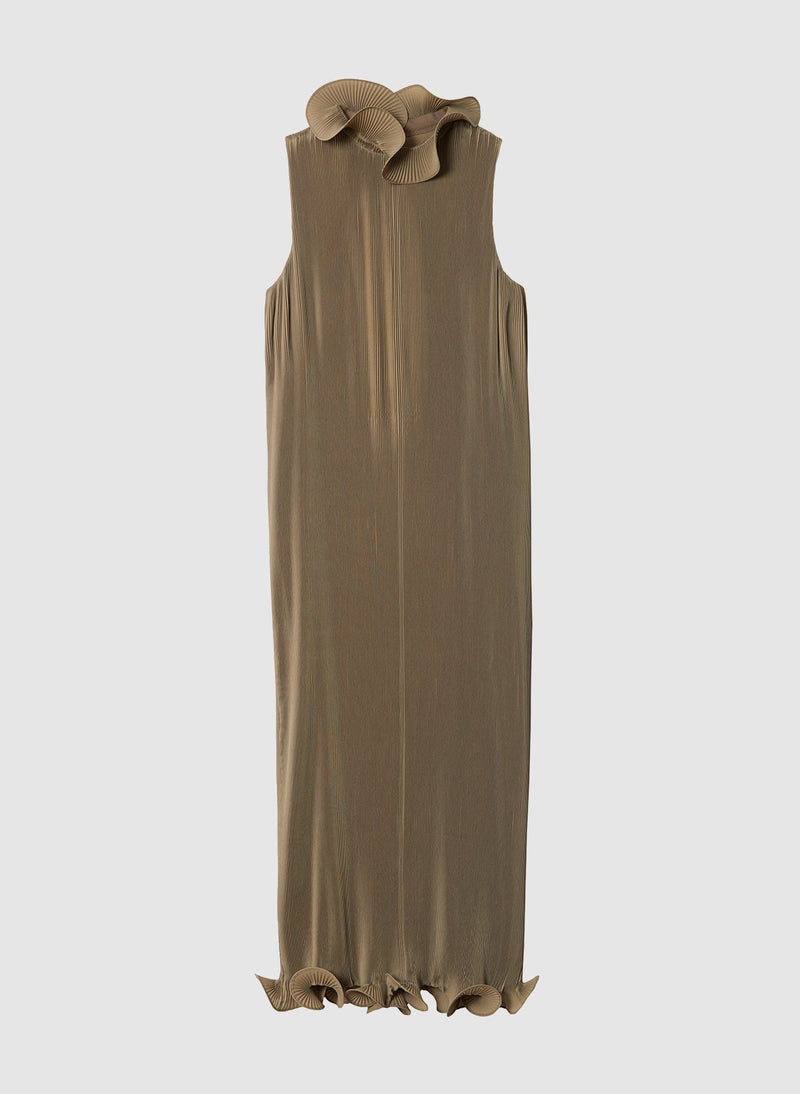 Pleated Sleeveless Dress Moss-12