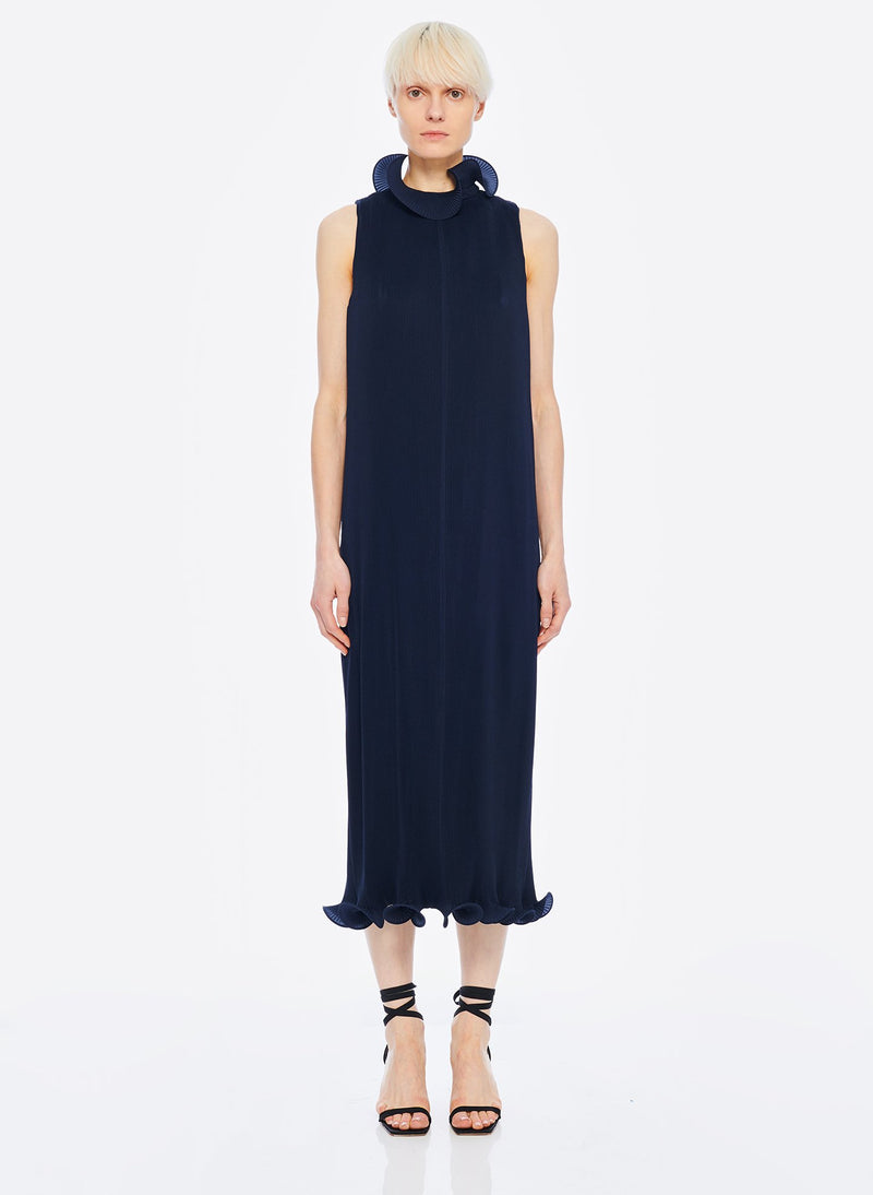 Pleated Sleeveless Dress Navy-15