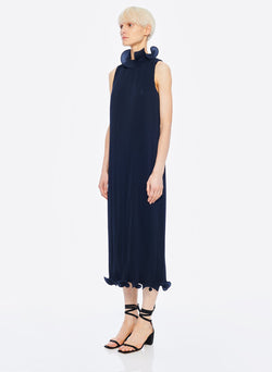Pleated Sleeveless Dress Navy-16