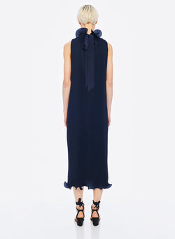 Pleated Sleeveless Dress Navy-17