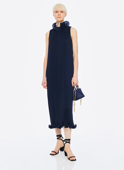 Pleated Sleeveless Dress Navy-18