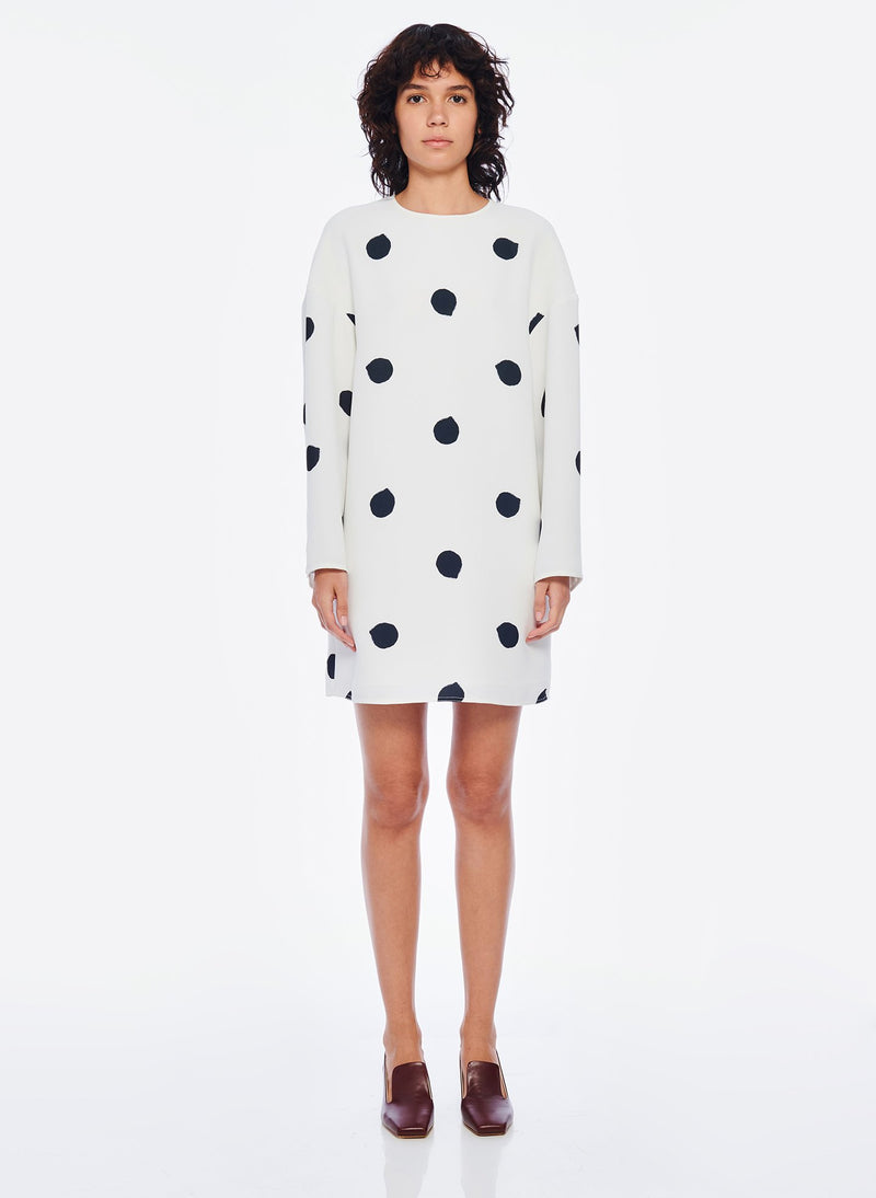 Polka Dot Sculpted Shift Dress White/Black Multi-1