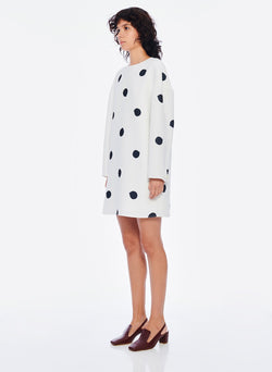 Polka Dot Sculpted Shift Dress White/Black Multi-2