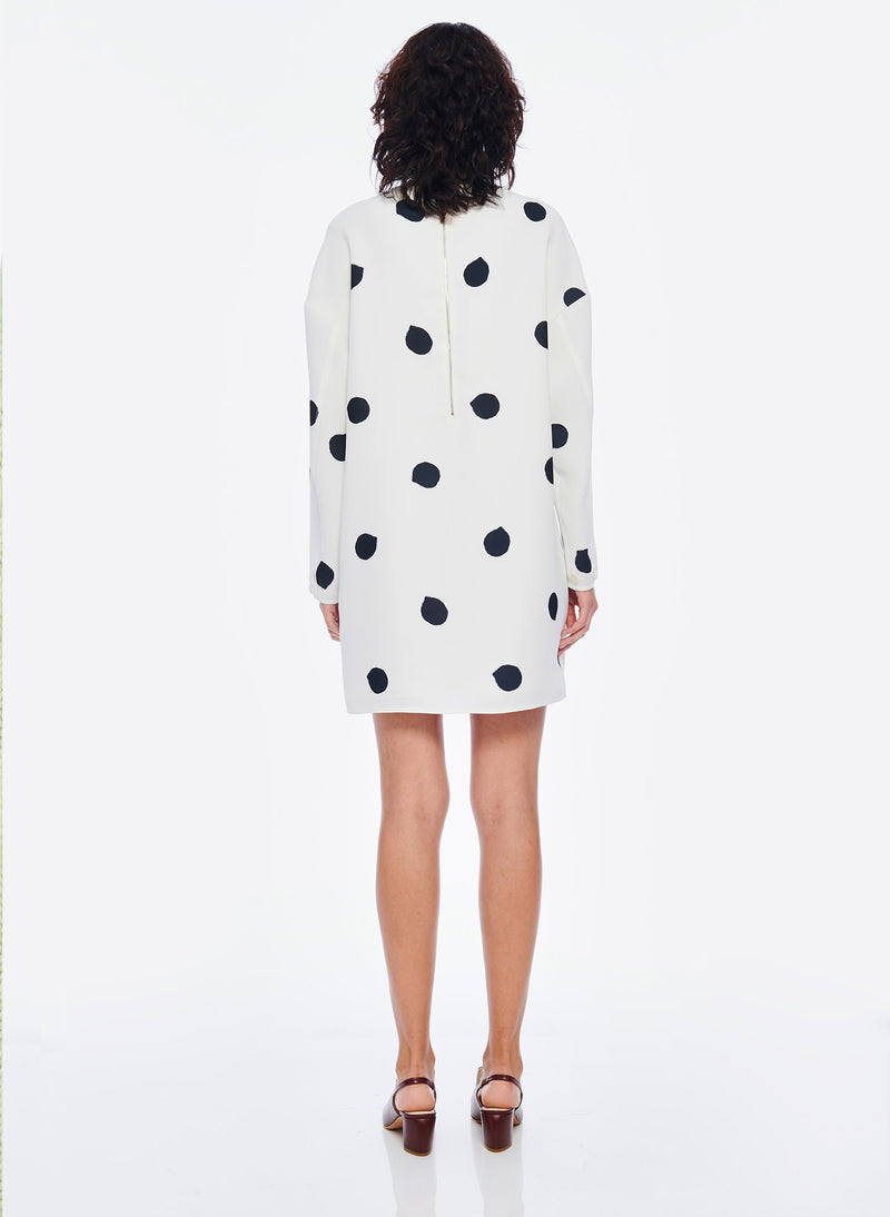 Polka Dot Sculpted Shift Dress White/Black Multi-3