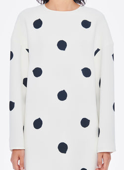 Polka Dot Sculpted Shift Dress White/Black Multi-5