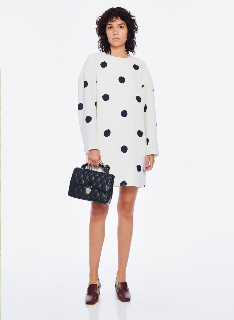 Polka Dot Sculpted Shift Dress White/Black Multi-6