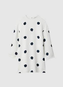 Polka Dot Sculpted Shift Dress White/Black Multi-7