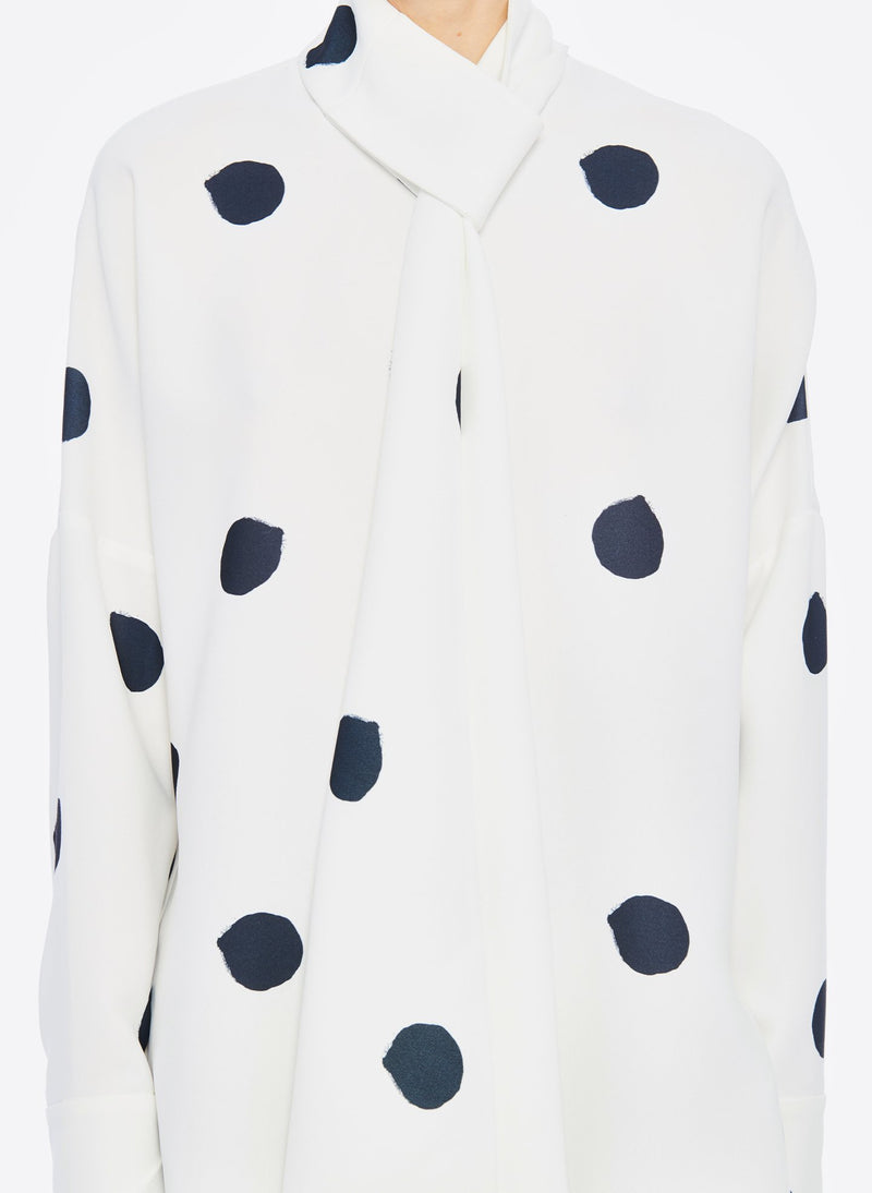 Polka Dot Dolman Top White/Black Multi-5