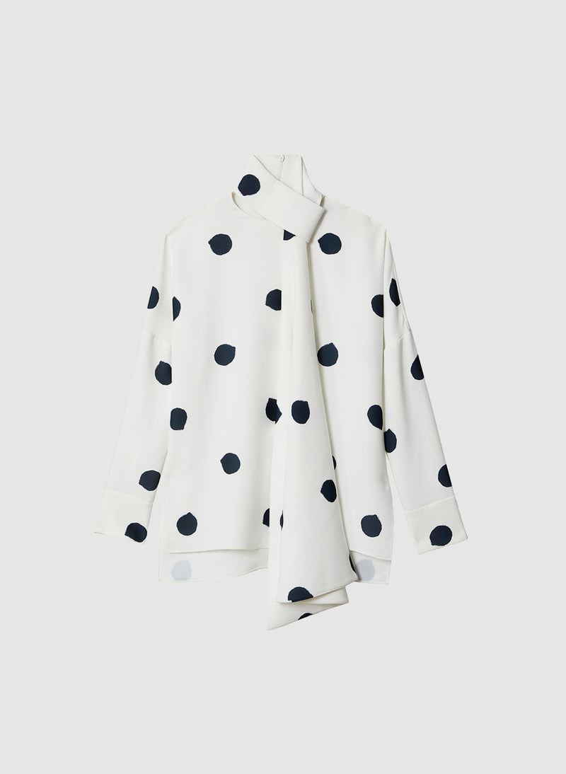 Polka Dot Dolman Top White/Black Multi-7