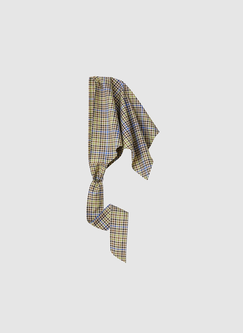 Recycled Menswear Check Babushka Scarf Green/Beige Multi-2
