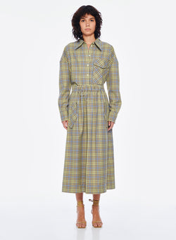 Recycled Menswear Check Full Skirt Green/Beige Multi-1