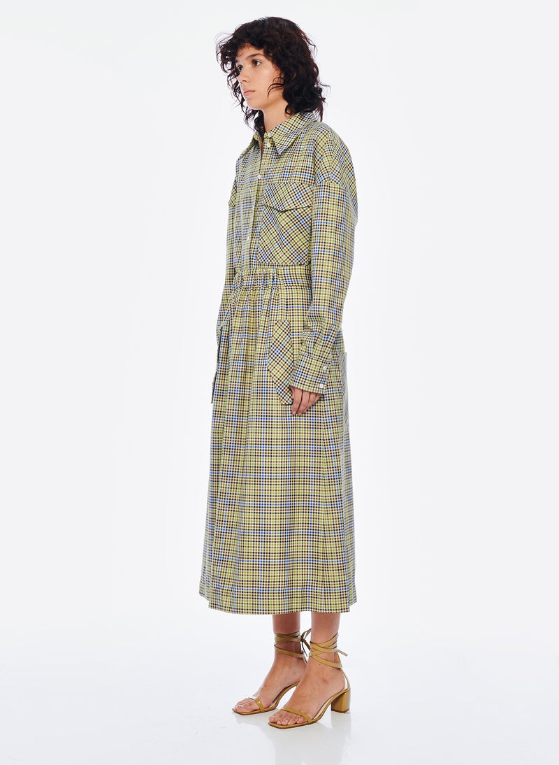 Recycled Menswear Check Full Skirt Green/Beige Multi-2