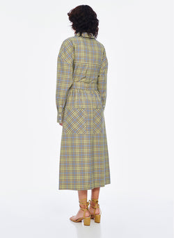Recycled Menswear Check Full Skirt Green/Beige Multi-3