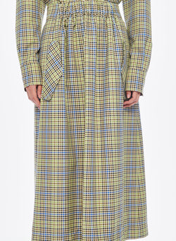 Recycled Menswear Check Full Skirt Green/Beige Multi-4