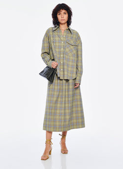 Recycled Menswear Check Full Skirt Green/Beige Multi-5