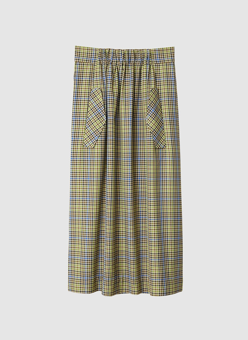 Recycled Menswear Check Full Skirt Green/Beige Multi-6