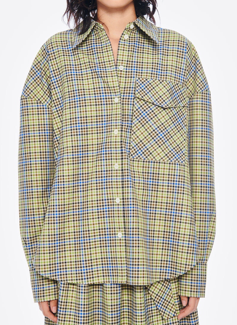 Recycled Menswear Check Utility Blouse Green/ Beige Multi-4