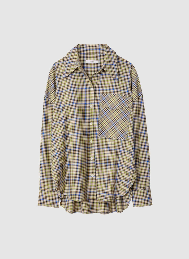 Recycled Menswear Check Utility Blouse Green/ Beige Multi-6
