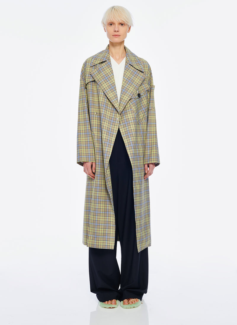 Recycled Menswear Check Trench Coat Green/ Beige Multi-1