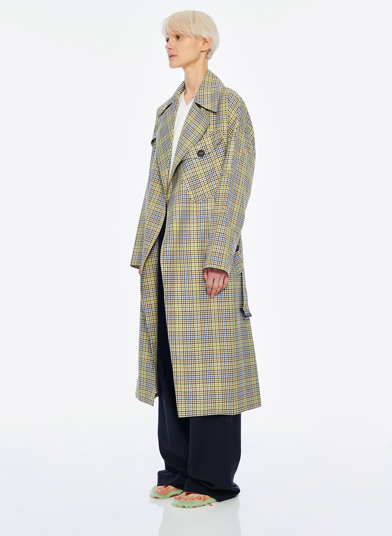 Recycled Menswear Check Trench Coat Green/ Beige Multi-2