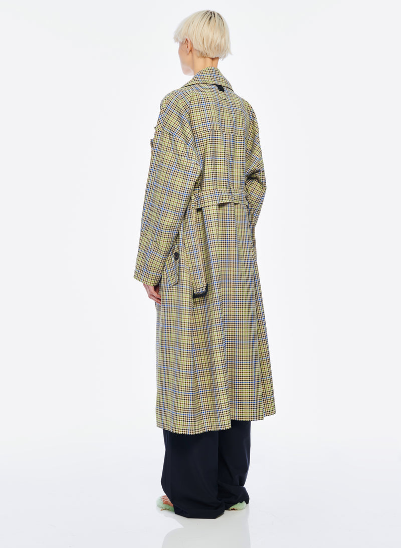 Recycled Menswear Check Trench Coat Green/ Beige Multi-3