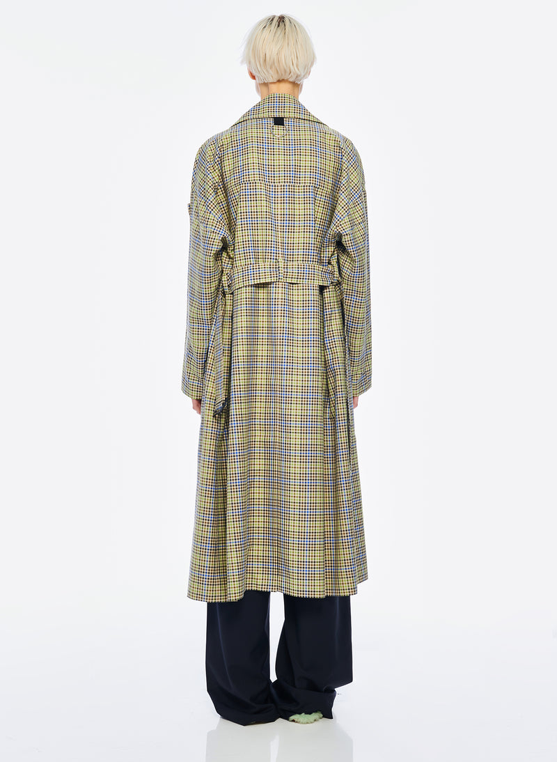 Recycled Menswear Check Trench Coat Green/ Beige Multi-4