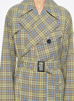 Recycled Menswear Check Trench Coat Green/ Beige Multi-5
