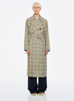Recycled Menswear Check Trench Coat Green/ Beige Multi-6