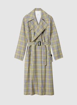 Recycled Menswear Check Trench Coat Green/ Beige Multi-7