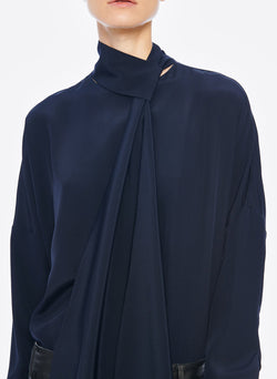Heavy Silk CDC Dolman Top Navy-11