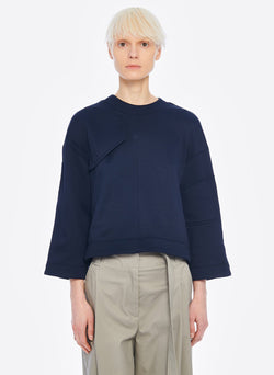 Tech Terry Sculpted Sleeve Sweatshirt Navy-1