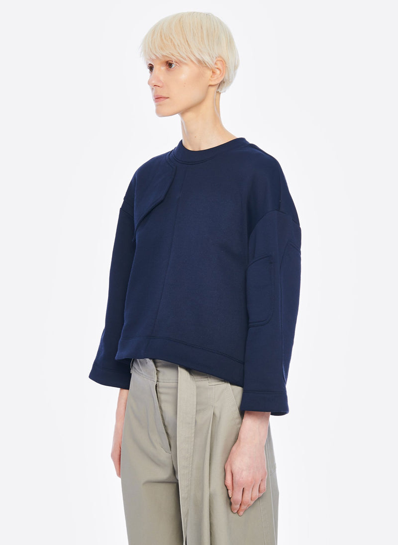 Tech Terry Sculpted Sleeve Sweatshirt Navy-2