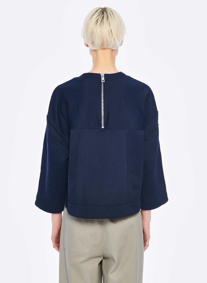 Tech Terry Sculpted Sleeve Sweatshirt Navy-3