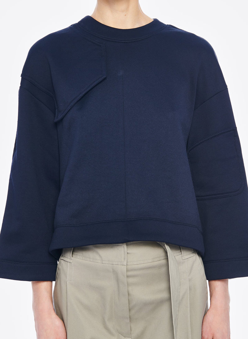 Tech Terry Sculpted Sleeve Sweatshirt Navy-5