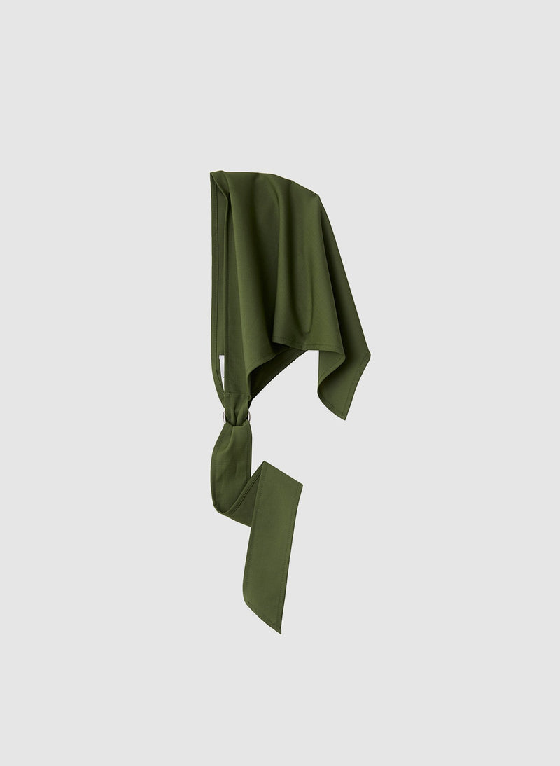 Tropical Wool Babushka Scarf Army Green-2
