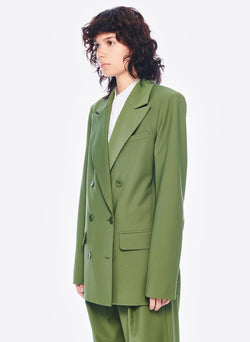 Tropical Wool Double Breasted Blazer Army Green-2
