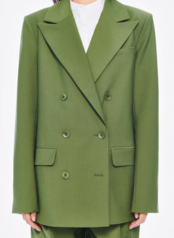 Tropical Wool Double Breasted Blazer Army Green-5