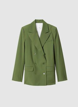 Tropical Wool Double Breasted Blazer Army Green-7