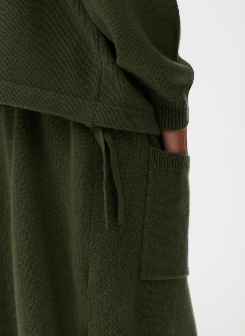 Cashmere Sweater Balloon Skirt Army Green-3