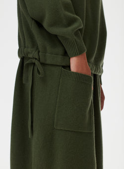 Cashmere Sweater Balloon Skirt Army Green-4
