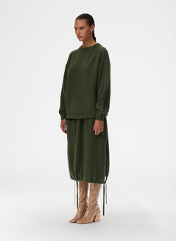 Cashmere Sweater Balloon Skirt Army Green-1