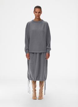 Cashmere Sweater Balloon Skirt Mink Grey-1